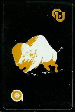 1974 University of Colorado football playing card back - black