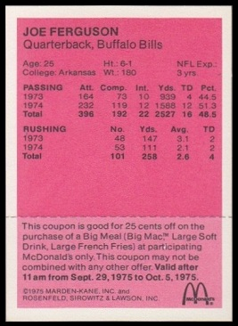 Back of Joe Ferguson 1975 McDonald's Quarterbacks football card
