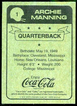 1979 Coke Saints Archie Manning football card back