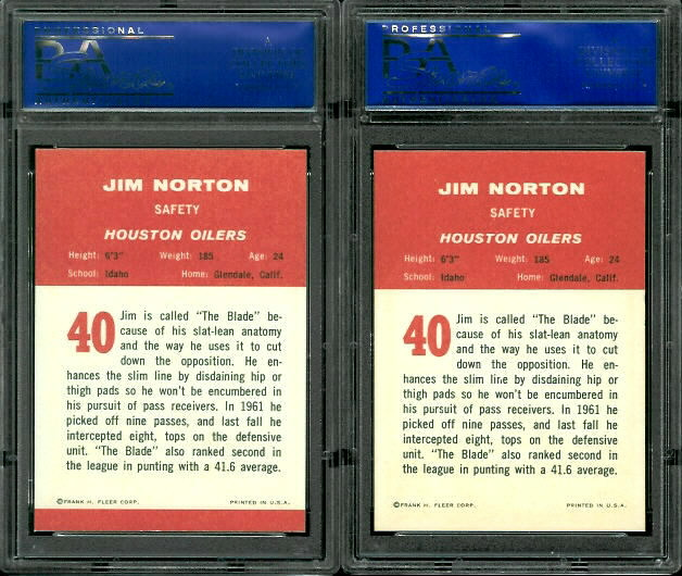 1963 Fleer Jim Norton cards