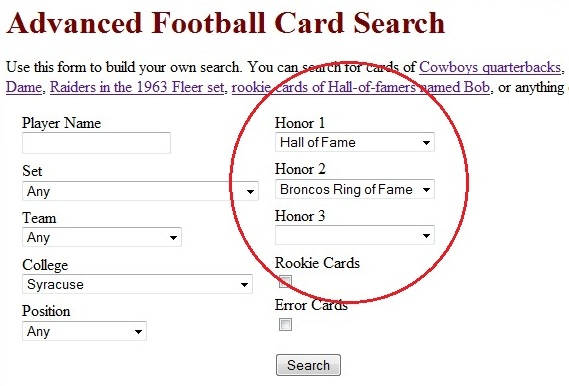 Vintage Football Card Gallery Advanced Search Page