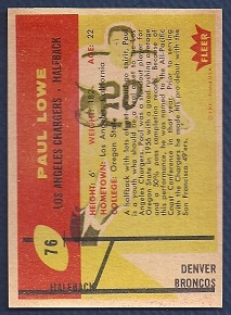 1960 Fleer Paul Lowe misprint football card