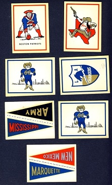 1960 Fleer football stickers