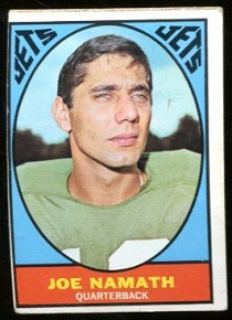 1967 Topps Milton Bradley Joe Namath football card