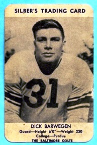 1949 Silber's Bakery Colts Dick Barwegan football card