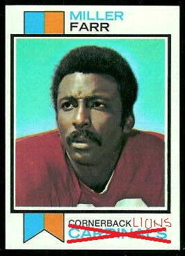 Miller Farr 1973 Topps football card