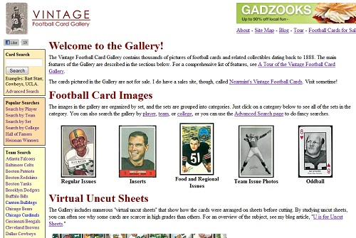 Vintage Football Card Gallery Home Page