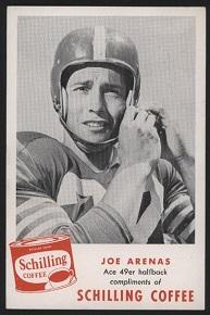 1950s Schilling Coffee Joe Arenas football card