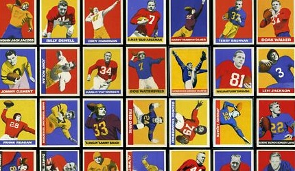 Virtual uncut sheet of 1948 Leaf football cards