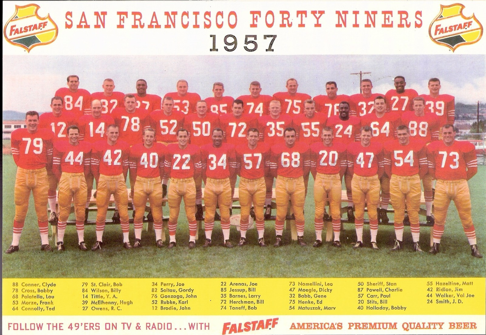44b806b97b3 ... this Falstaff beer ad. Most of the players in the photo appear on 1957  49ers Team Issue photos. 1961 Fleer John Brodie