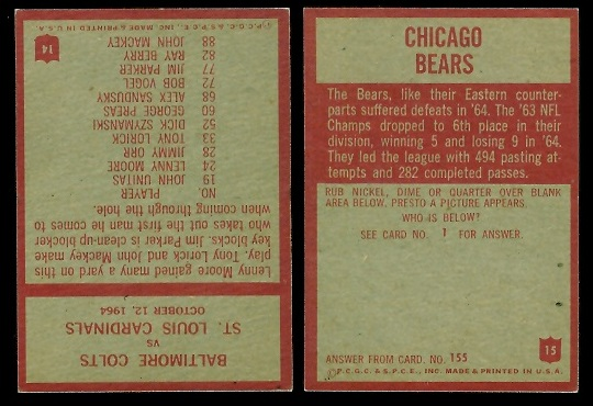 1965 Philadelphia Colts Play of the Year and Bears team football card backs