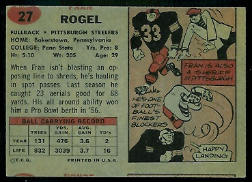 Back of miscut 1957 Topps Fran Rogel football card