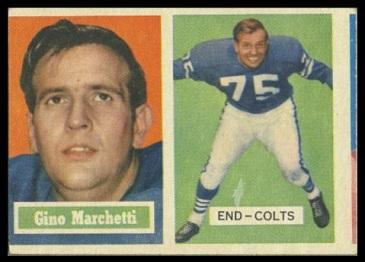 miscut 1957 Topps Gino Marchetti football card