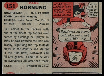 Back of miscut 1957 Topps Paul Hornung football card