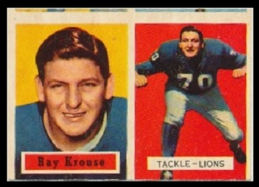 miscut 1957 Topps Ray Krouse football card