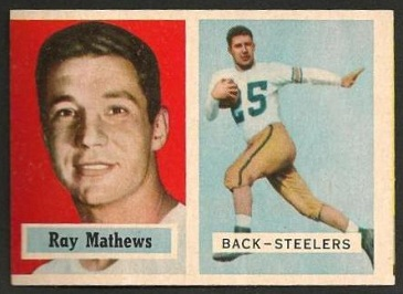 miscut 1957 Topps Ray Mathews football card