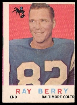Miscut 1959 Topps Raymond Berry football card