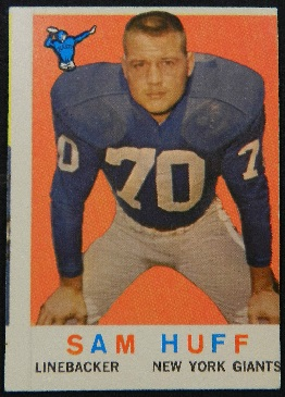 Miscut 1959 Topps Sam Huff rookie football card