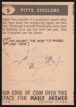 Back of miscut 1959 Topps Pittsburgh Steelers Pennant football card