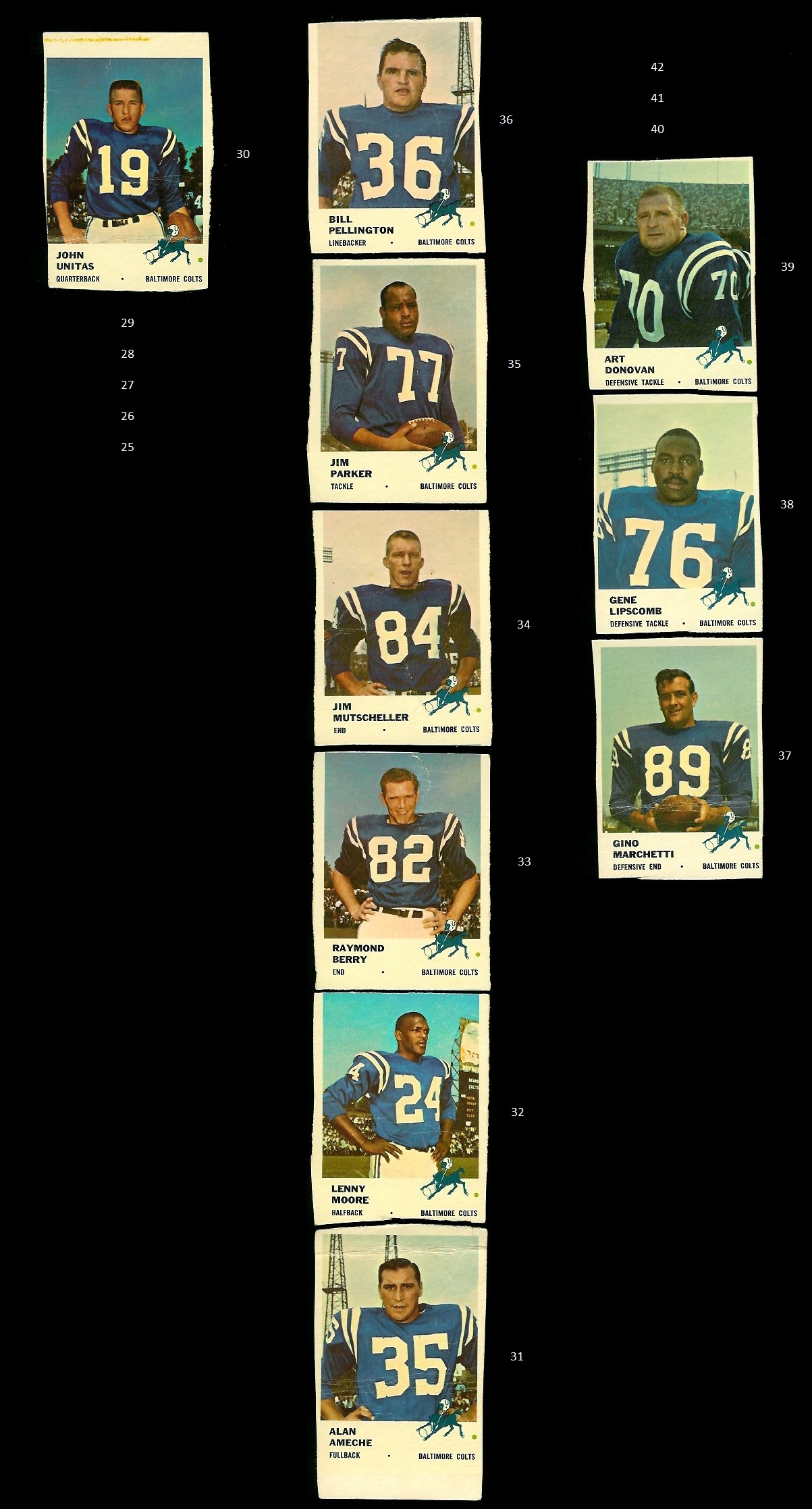 Hand-cut 1961 Fleer Baltimore Colts football cards