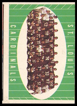 Miscut 1961 Topps St. Louis Cardinals team football card