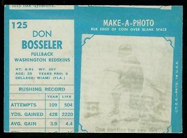 Miscut 1961 Topps Don Bosseler football card