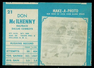Miscut 1961 Topps Don McIlHenny football card