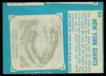 Miscut 1961 Topps New York Giants team football card