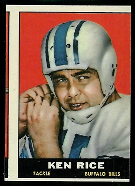 Miscut 1961 Topps Ken Rice football card