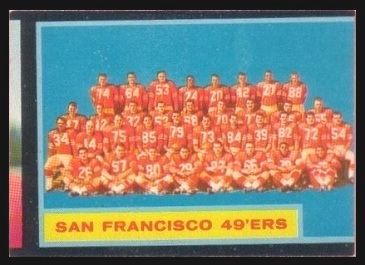 Miscut 1962 Topps San Francisco 49ers football card