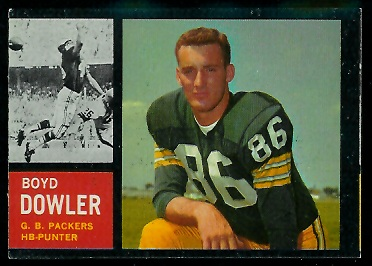 Miscut 1962 Topps Boyd Dowler football card