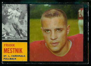 Miscut 1962 Topps Frank Mestnik football card