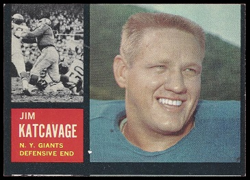Miscut 1962 Topps Jim Katcavage football card