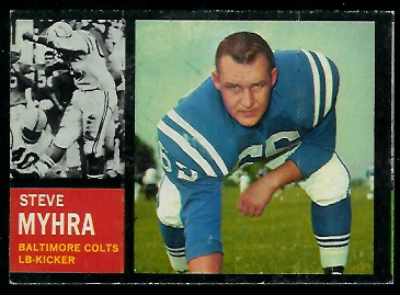 Miscut 1962 Topps Steve Myhra football card