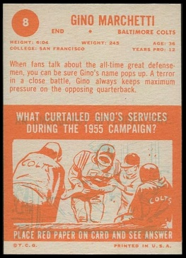 Back of 1963 Topps Gino Marchetti football card