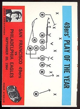 Miscut 1965 49ers Play of the Year football card
