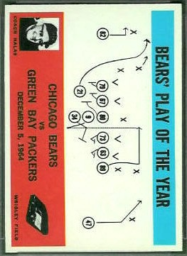 Miscut 1965 Philadelphia Bears play football card