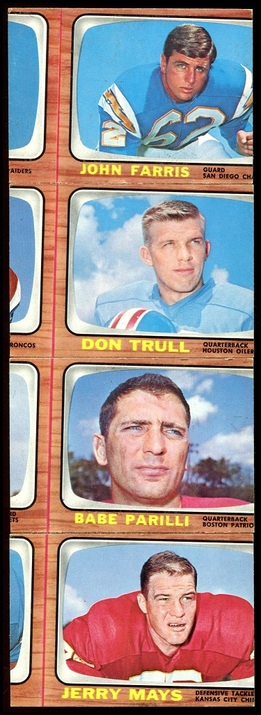 Miscut 1966 Topps football cards