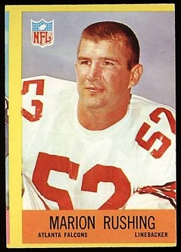 Miscut 1967 Philadelphia Marion Rushing football card