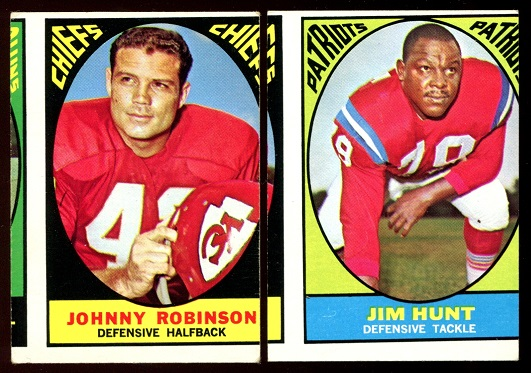 Miscut 1967 Topps football cards