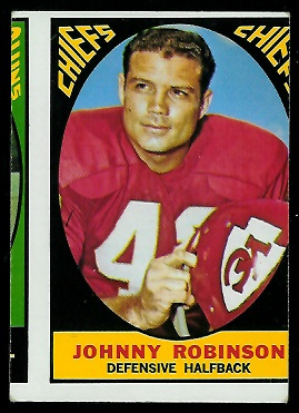 Miscut 1967 Topps Johnny Robinson football card