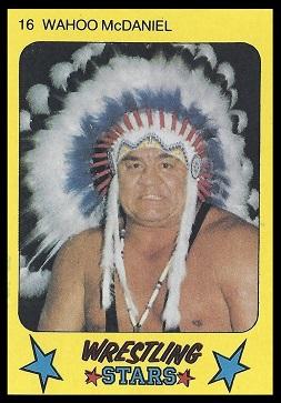 Wahoo McDaniels 1986 Monty Gum wrestling card