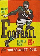 1959 Topps football card wrapper