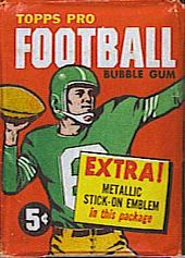 1960 Topps football card wrapper