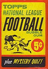1963 Topps football card wrapper