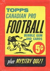 1963 Topps CFL football card wrapper