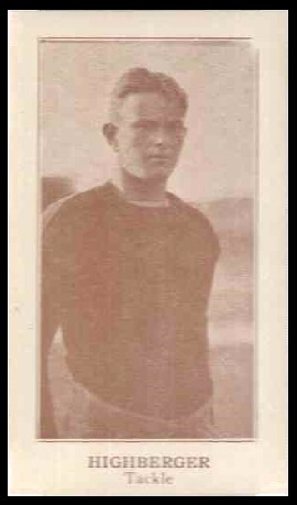 William Highberger 1924 Lafayette football card