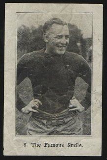 The Famous Smile 1926 Shotwell Red Grange Ad Back football card