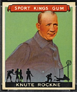 Knute Rockne 1933 Sport Kings football card