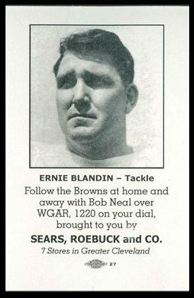 Ernie Blandin 1946 Sears Browns football card
